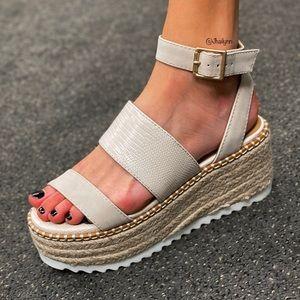 Nude snake texture espadrille sandal